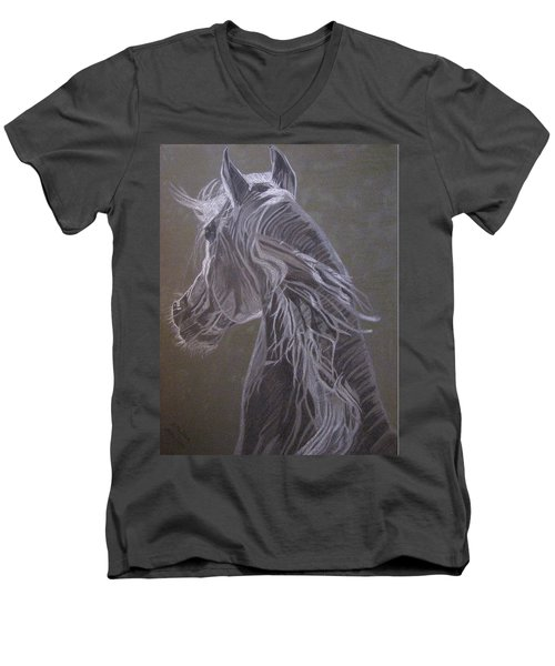 Men's V-Neck T-Shirt featuring the drawing Arab Horse by Melita Safran