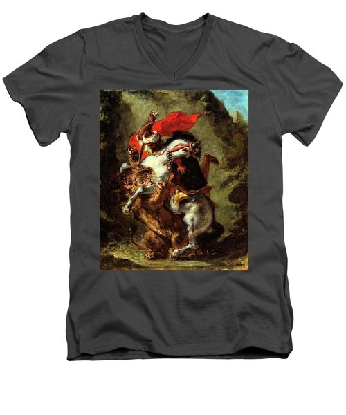 Men's V-Neck T-Shirt featuring the painting Arab Horseman Attacked By A Lion by Eugene Delacroix