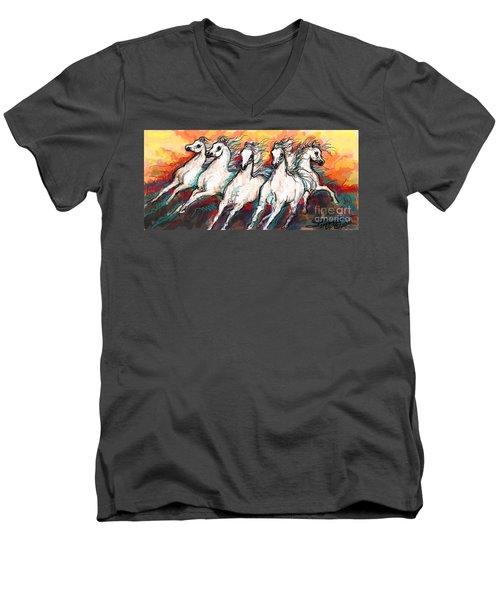 Arabian Sunset Horses Men's V-Neck T-Shirt