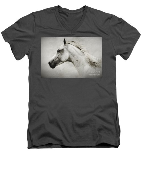 Arabian White Horse Portrait Men's V-Neck T-Shirt