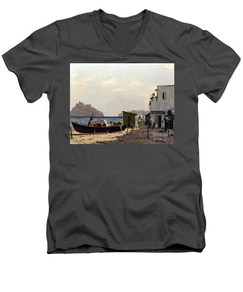 Men's V-Neck T-Shirt featuring the painting Aragonese's Castle - Island Of Ischia by Rosario Piazza