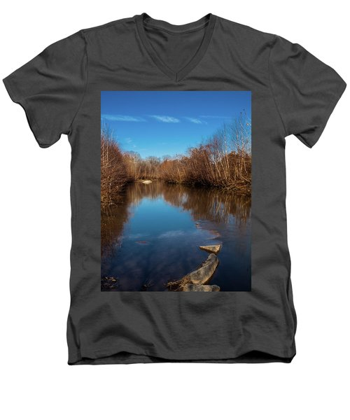 Ararat River Men's V-Neck T-Shirt by Randy Sylvia