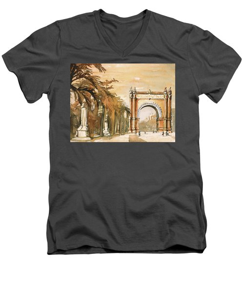 Men's V-Neck T-Shirt featuring the painting Arch- Barcelona, Spain by Ryan Fox