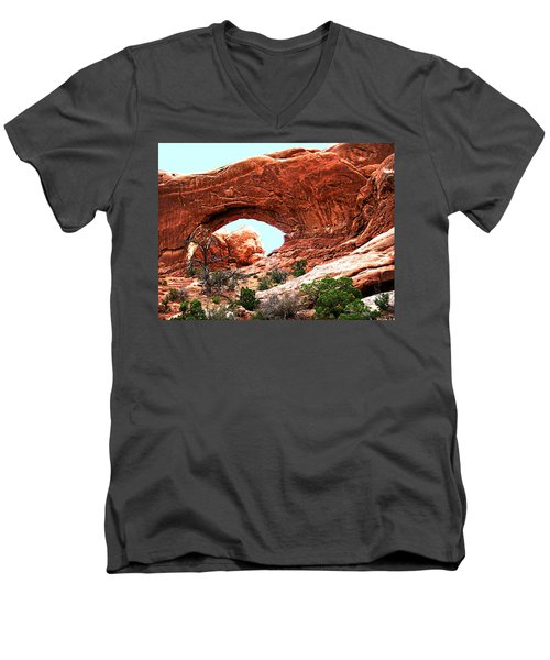 Men's V-Neck T-Shirt featuring the digital art Arch Face by Gary Baird