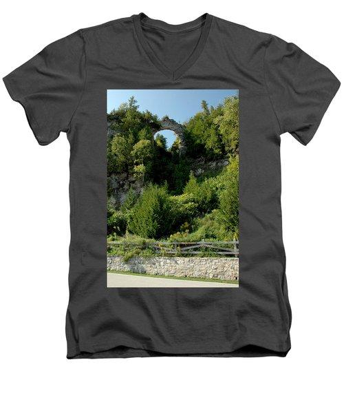 Men's V-Neck T-Shirt featuring the photograph Arch Rock Mackinac Island by LeeAnn McLaneGoetz McLaneGoetzStudioLLCcom