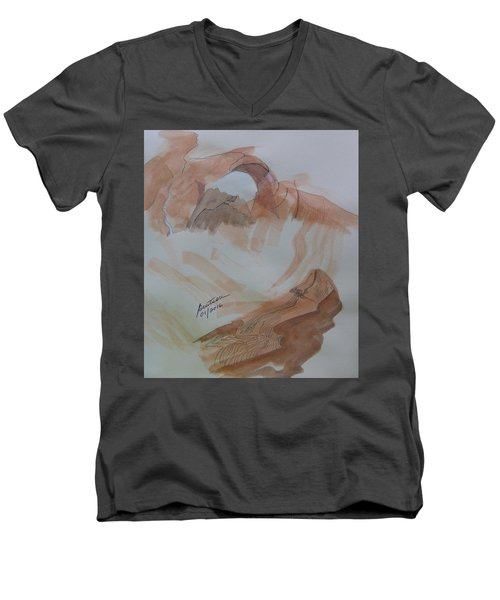 Men's V-Neck T-Shirt featuring the painting Arch Rock - Sketchbook Doodle by Joel Deutsch