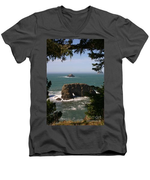 Arch Rock View Men's V-Neck T-Shirt by Marie Neder