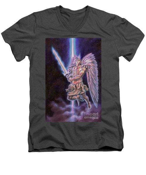 Men's V-Neck T-Shirt featuring the painting Archangel Michael - Starstuff by Dave Luebbert