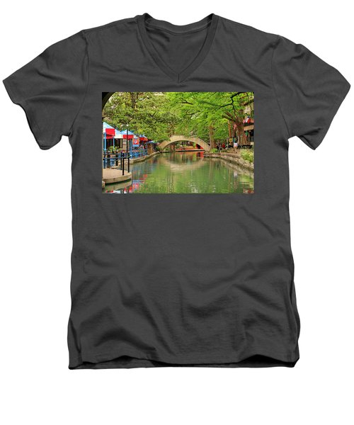 Men's V-Neck T-Shirt featuring the photograph Arched Bridge Reflection - San Antonio by Art Block Collections