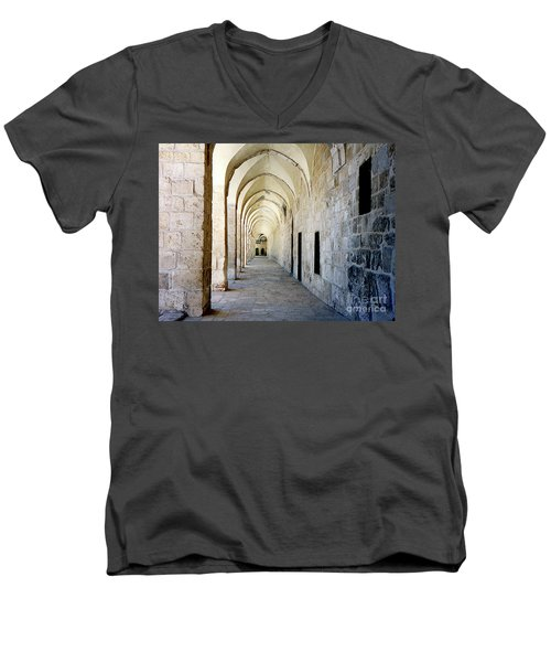 Arched Walkwayat A Church In Florence Italy Men's V-Neck T-Shirt