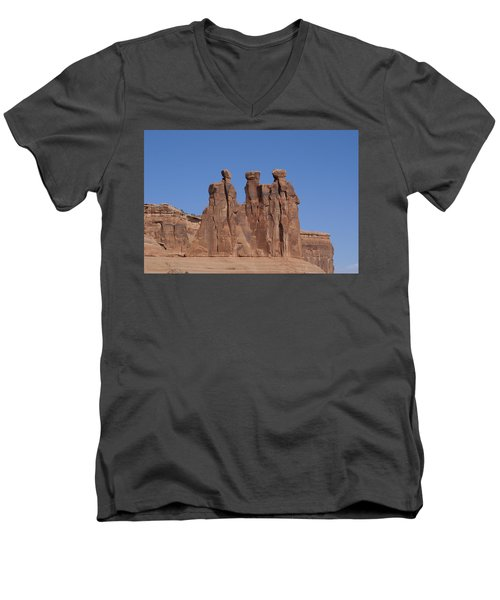 Arches National Park Men's V-Neck T-Shirt by Cynthia Powell