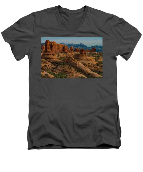 Men's V-Neck T-Shirt featuring the photograph Arches National Park by Gary Lengyel