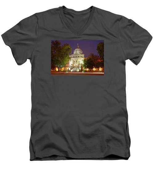 Architectural Photograph Of Mclennan County Courthouse At Dawn - Downtown Waco Central Texas Men's V-Neck T-Shirt