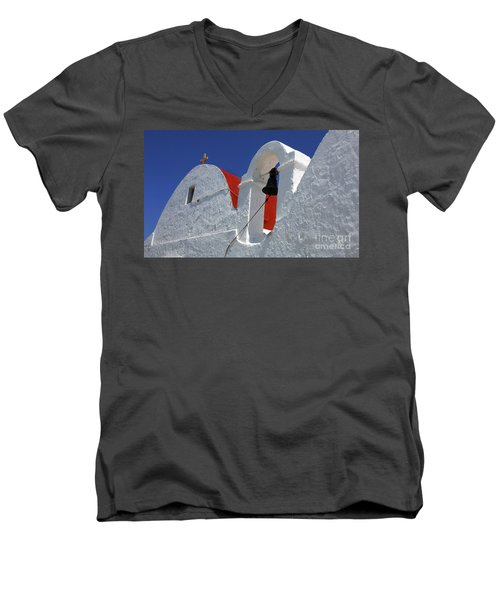 Men's V-Neck T-Shirt featuring the photograph Architecture Mykonos Greece by Bob Christopher