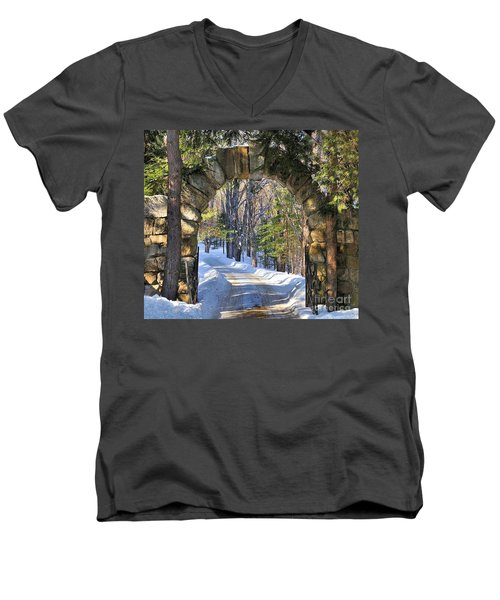 Men's V-Neck T-Shirt featuring the photograph Archway To Winter by Debbie Stahre