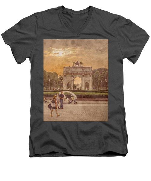 Paris, France - Arcs Men's V-Neck T-Shirt