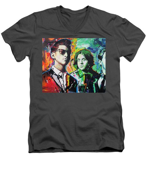 Men's V-Neck T-Shirt featuring the painting Arctic Monkeys by Richard Day