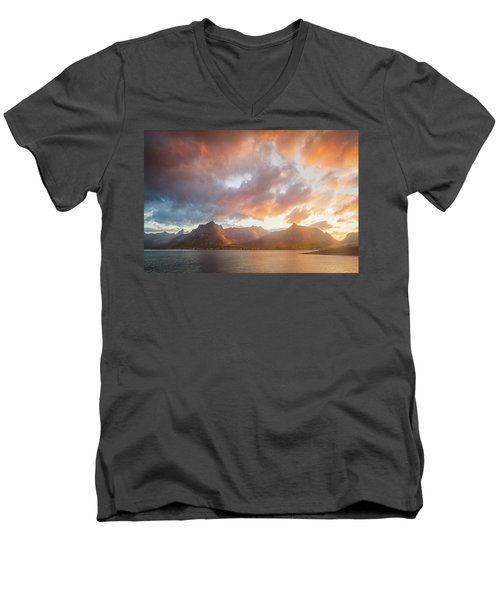 Men's V-Neck T-Shirt featuring the photograph Arctic Susnset by Maciej Markiewicz
