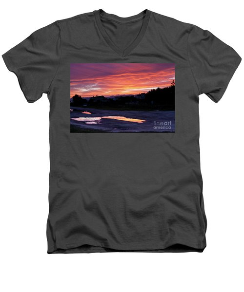 Men's V-Neck T-Shirt featuring the photograph Ardore, Calabria Town by Bruno Spagnolo