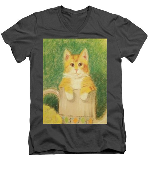 Men's V-Neck T-Shirt featuring the drawing Are You Sure It's Ok To Be In Here? by Denise Fulmer