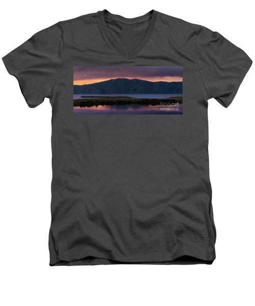Aregunyats Range And Sevan Lake At Sunset, Armenia Men's V-Neck T-Shirt by Gurgen Bakhshetsyan