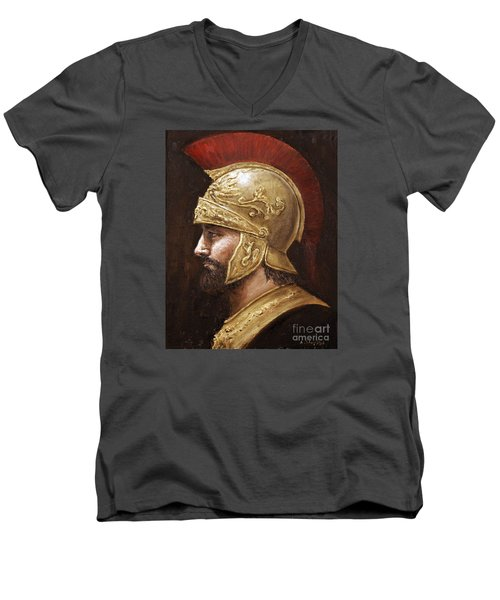 Men's V-Neck T-Shirt featuring the painting Ares by Arturas Slapsys