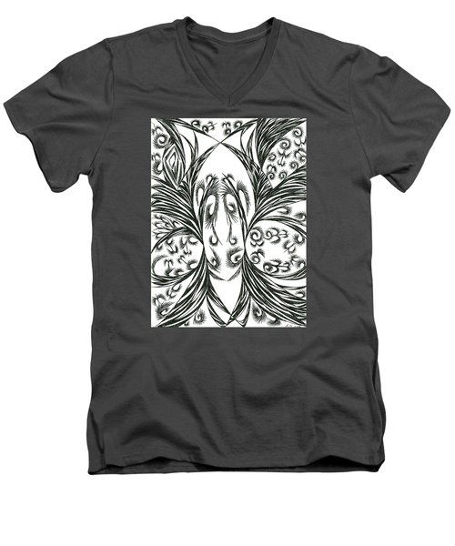 Men's V-Neck T-Shirt featuring the drawing Argos by Robert Nickologianis