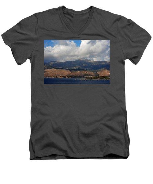 Argostoli Mountains Men's V-Neck T-Shirt by Robert Moss