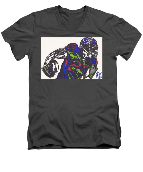 Men's V-Neck T-Shirt featuring the drawing Arian Foster 1 by Jeremiah Colley
