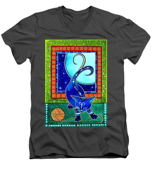 Aries Cat Zodiac Men's V-Neck T-Shirt