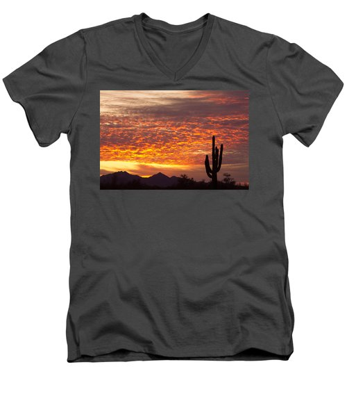 Arizona November Sunrise With Saguaro   Men's V-Neck T-Shirt