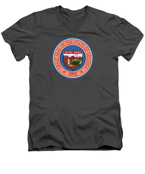 Arizona State Seal Men's V-Neck T-Shirt by Movie Poster Prints
