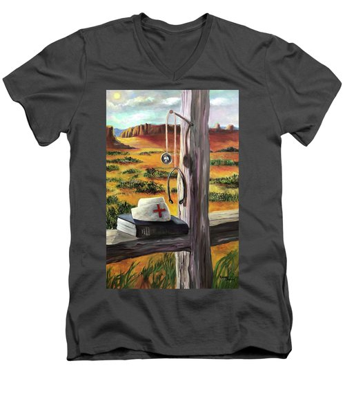 Arizona The Nurse And Hope Men's V-Neck T-Shirt by Randy Burns