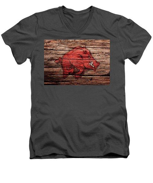 Arkansas Razorbacks Men's V-Neck T-Shirt by Brian Reaves
