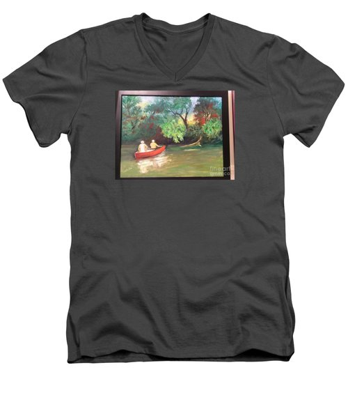 Men's V-Neck T-Shirt featuring the painting Arkansas River Float by Marcia Dutton