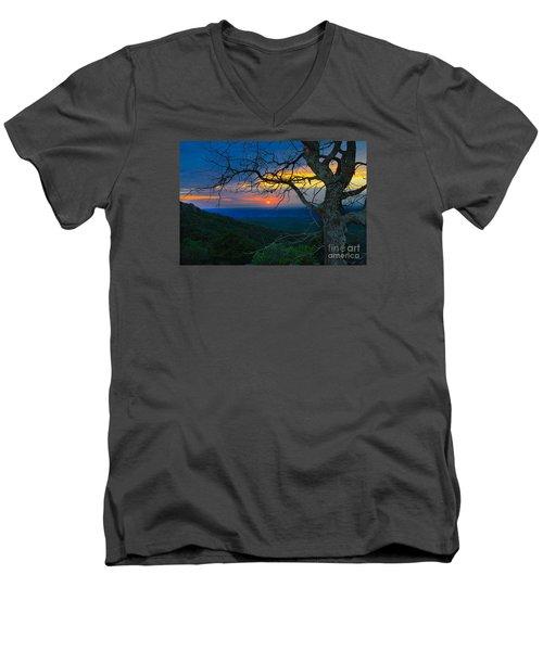 Arkansas Sunset Men's V-Neck T-Shirt by John Roberts