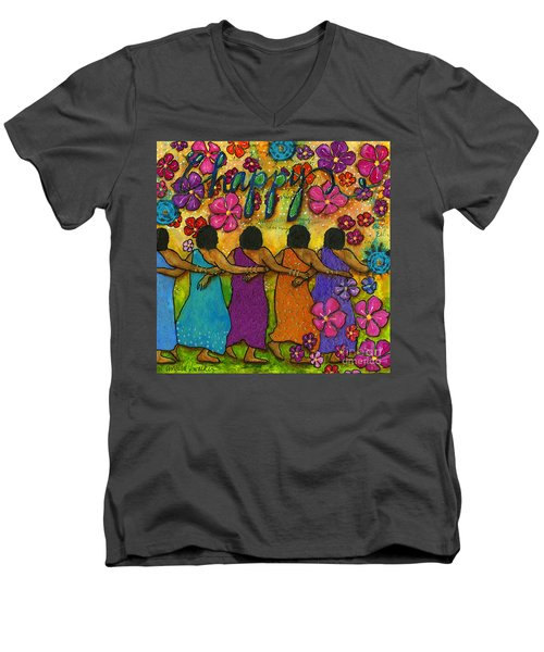 Arm In Arm - The Strongest Chain Men's V-Neck T-Shirt by Angela L Walker