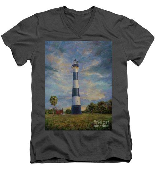 Armadillo And Lighthouse Men's V-Neck T-Shirt by AnnaJo Vahle