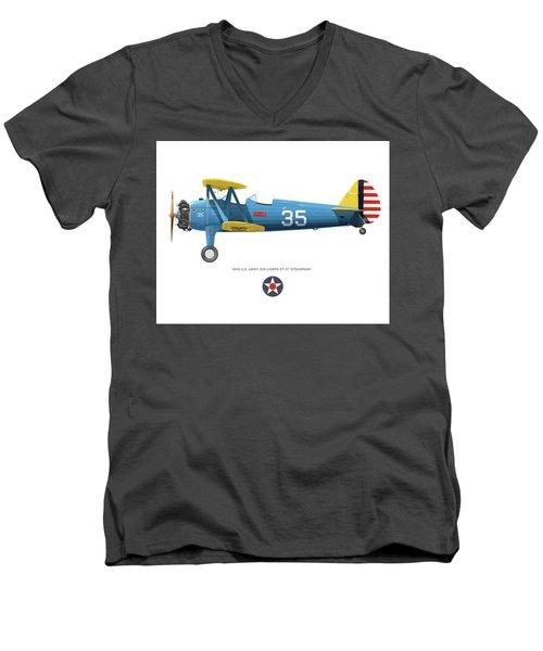 Army Air Corps Pt-17 Men's V-Neck T-Shirt