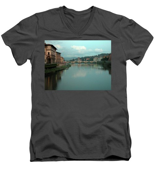 Men's V-Neck T-Shirt featuring the photograph Arno River, Florence, Italy by Mark Czerniec