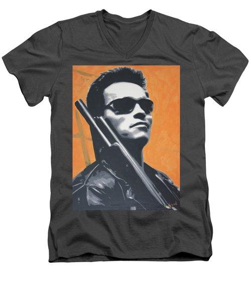 Arnold Schwarzenegger 2013 Men's V-Neck T-Shirt by Luis Ludzska