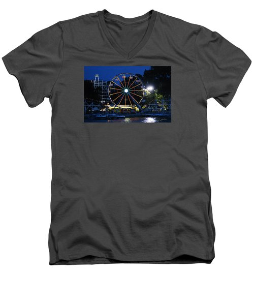Arnolds Park At Night Men's V-Neck T-Shirt