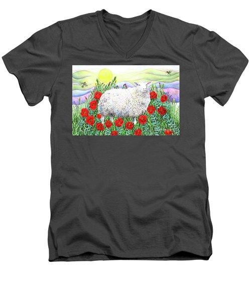 Arrival Of The Hummingbirds Men's V-Neck T-Shirt by Lise Winne