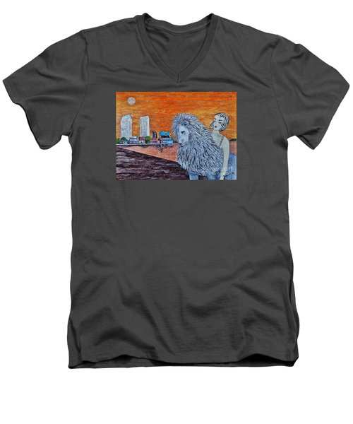 Men's V-Neck T-Shirt featuring the painting Arrival To San Diego by Jasna Gopic