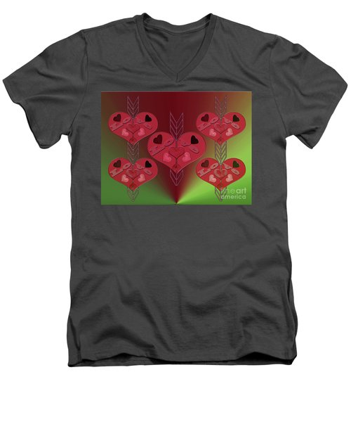 Men's V-Neck T-Shirt featuring the photograph Arrows Shooting Love Hearts by Rockin Docks Deluxephotos