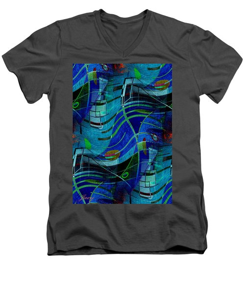 Men's V-Neck T-Shirt featuring the digital art Art Abstract With Culture by Sheila Mcdonald