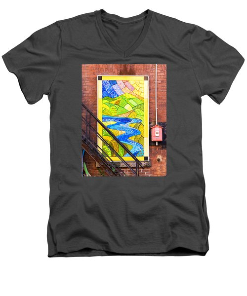 Art And The Fire Escape Men's V-Neck T-Shirt by Tom Singleton