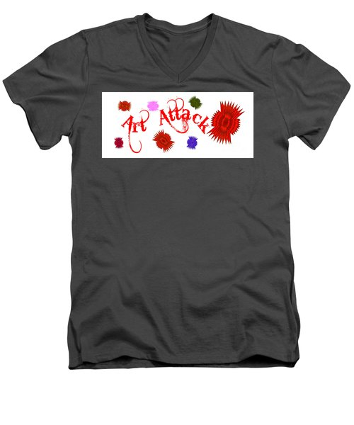 Men's V-Neck T-Shirt featuring the digital art Art Attack  by Marianne NANA Betts