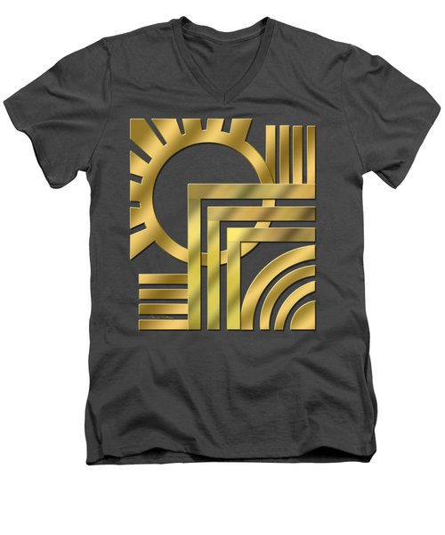 Men's V-Neck T-Shirt featuring the digital art Art Deco 21 Transparent by Chuck Staley