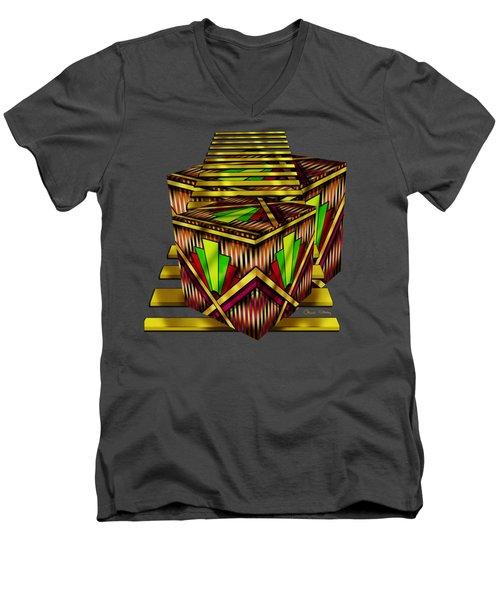 Art Deco Cubes 2 - Transparent Men's V-Neck T-Shirt